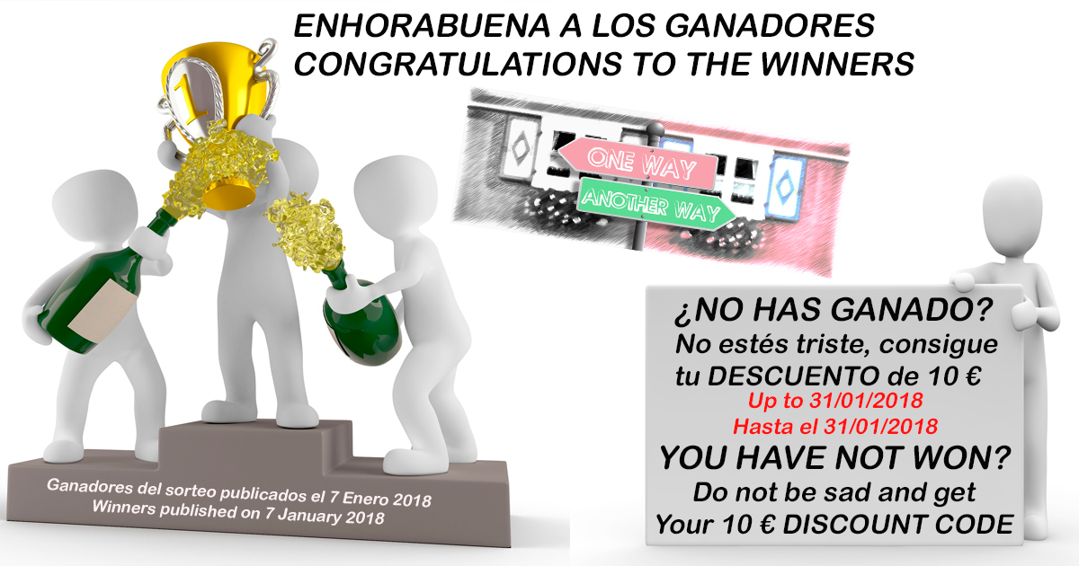 SORTEO FINALIZADO / DRAW ENDED. EL DÍA 7, LOS GANADORES / ON 7th JANUARY, THE WINNERS. ¿NO HAS GANADO?, CONSIGUE DESCUENTO /  NOT WON? GET DISCOUNT!